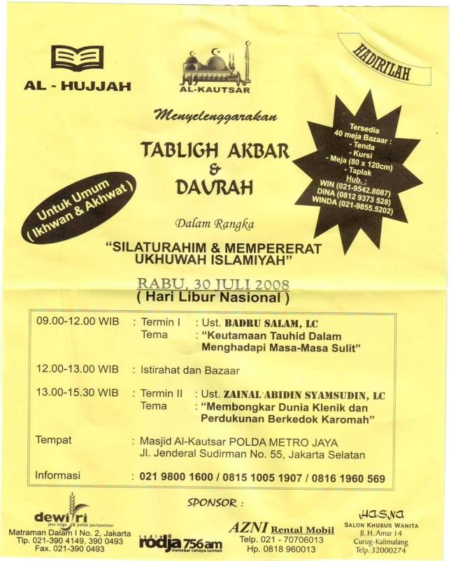 Tablig Akabr & Daurah di Masjid Al-Kautsar Polda Metro Jaya